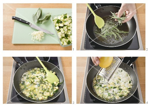 Making courgette ragout