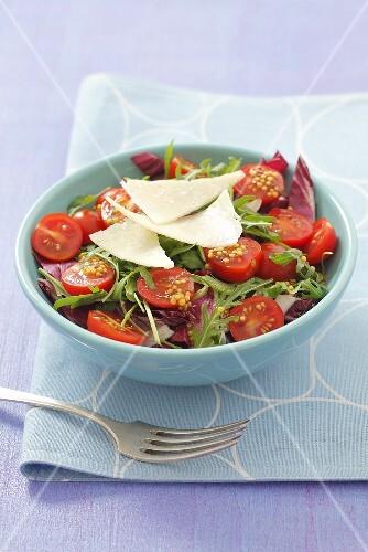 Radicchio, rocket and cherry tomato salad with Parmesan