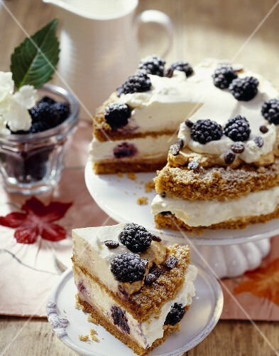 Espresso cream cake with blackberries