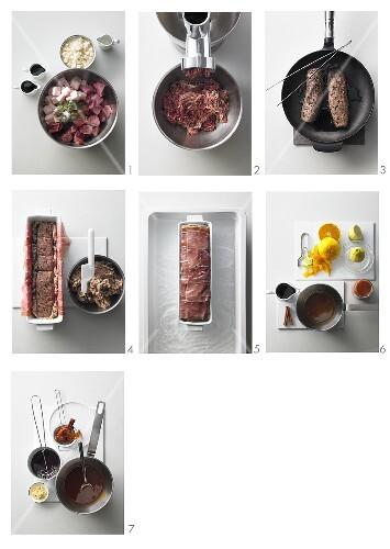 Preparing venison terrine with rosehip sauce and lambs lettuce