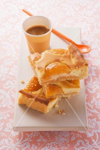 Tray-baked apricot quark cake