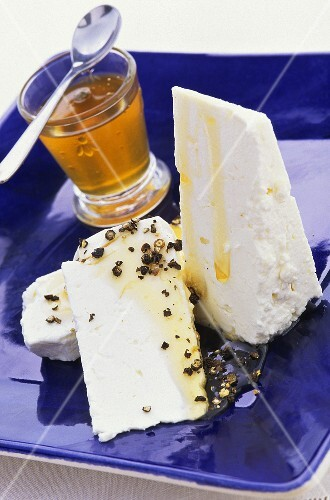 Feta cheese with pepper and honey