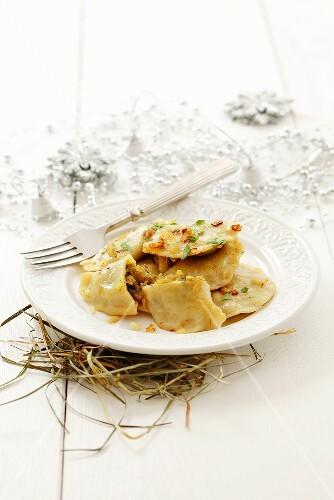 Pierogi with sauerkraut and mushroom filling for Christmas (Poland)