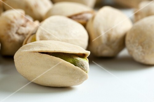 Several pistachios (close-up)