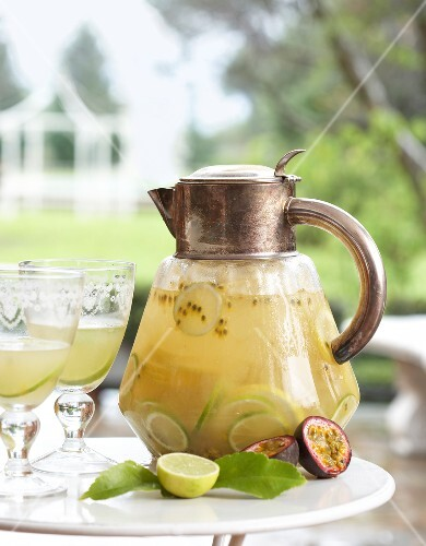 Sparkling wine punch with lime and passion fruit
