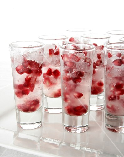 Ruby Vodka Shots (Vodka with pomegranate seeds on ice)