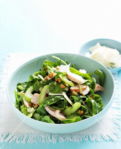 Spinach, celery and chicken salad
