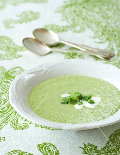 Broad bean soup with yoghurt and mint