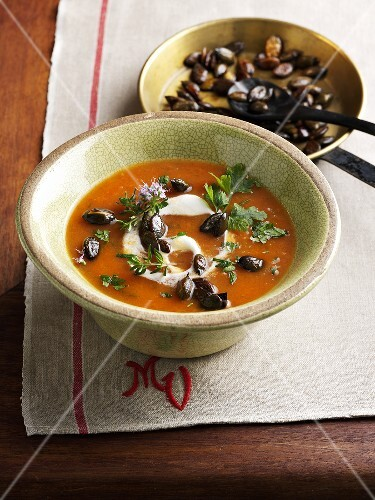 Pumpkin and potato soup with herbs