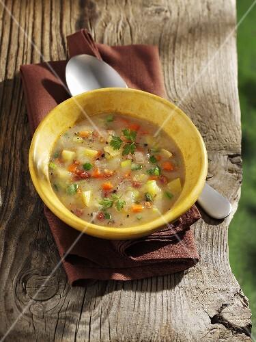 Potato soup with parsley
