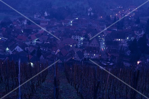 View of Andlau by night, Alsace, France