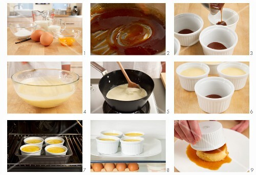 Making crème caramel