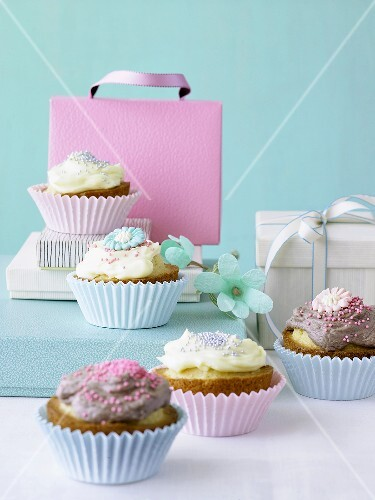 Fairy cake with vanilla and chocolate cream