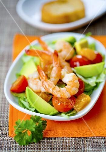 Prawn, avocado, tomato and orange salad