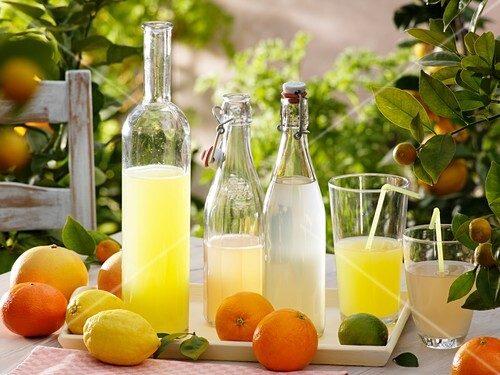 Lemonade and fresh citrus fruit