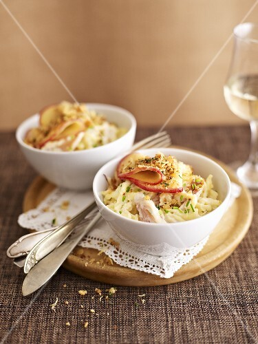 Spaetzle noodles with smoked trout