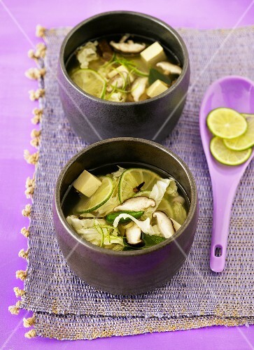 Spicy lime soup with tofu and mushrooms