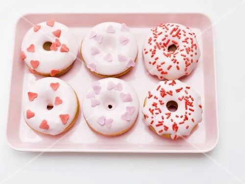 Decorated doughnuts for Valentine's Day