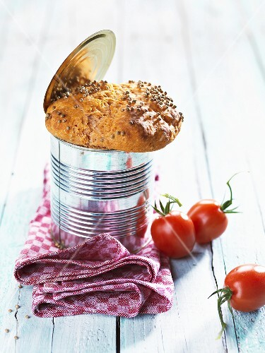 Tomato bread baked in a tin