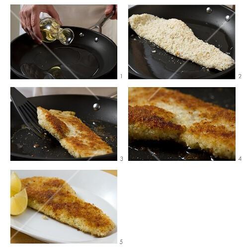 Breaded haddock being fried in a pan