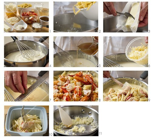 Lobster macaroni and cheese being prepared