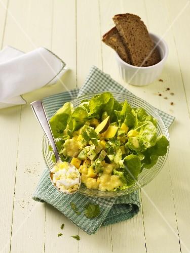 Mango and avocado salad with egg