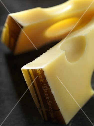 Two pieces of Emmental cheese from Savoy