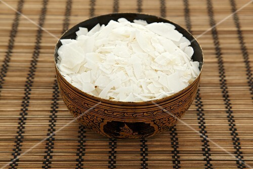 Desicated coconut in an oriental bowl