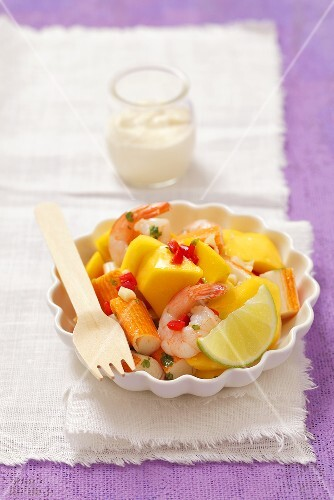 Prawn and surimi salad with mango, chilli and a horseradish dip