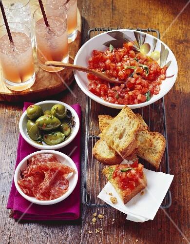 Antipasti buffet with Campari cocktails
