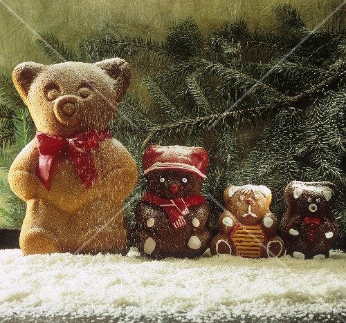 Baked chocolate cake bears in icing sugar snow
