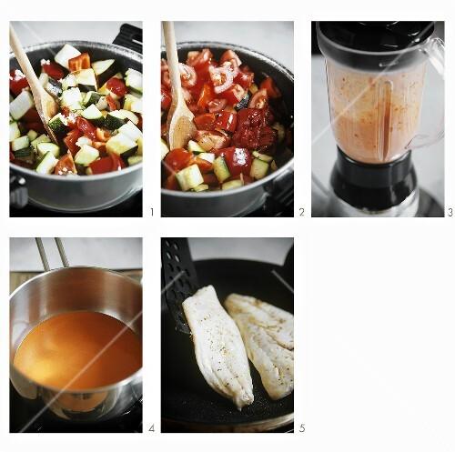 Preparing sea bream on ratatouille