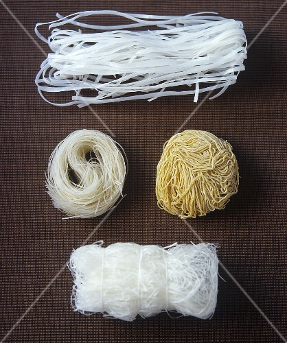 Four different types of Asian noodles