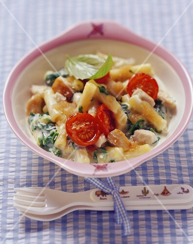 Macaroni with spinach, tomatoes and chicken