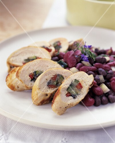 Stuffed chicken breast with beans