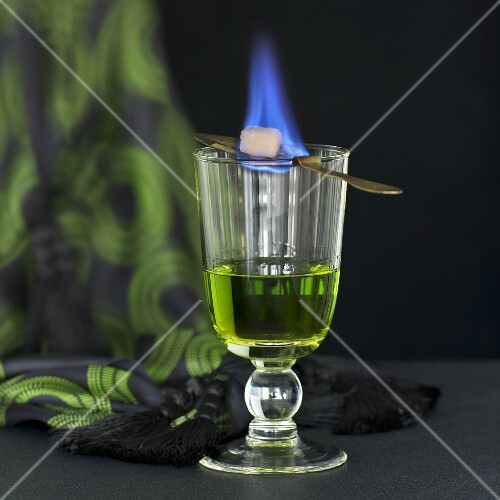 Absinth with a burning sugar cube