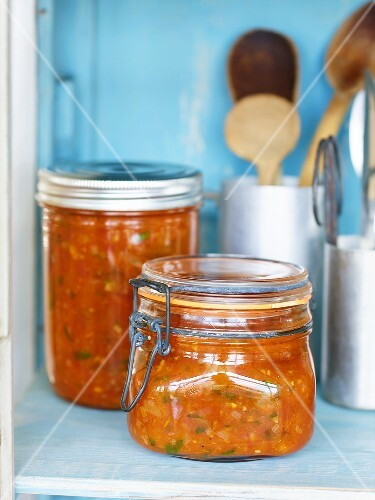 Homemade tomato sauce in preserving jars