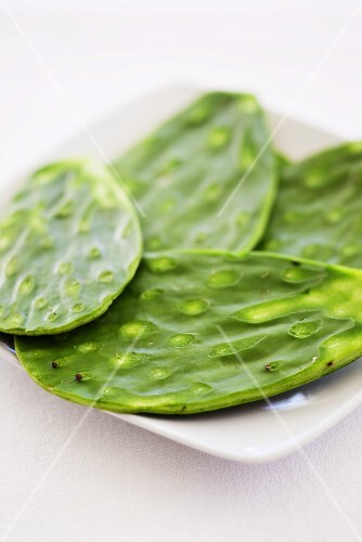 Cactus leaves on a plate with the spikes removed