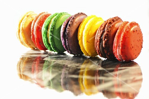 A row of coloured macaroons