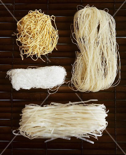 four different types of asian noodles  u2013 license images