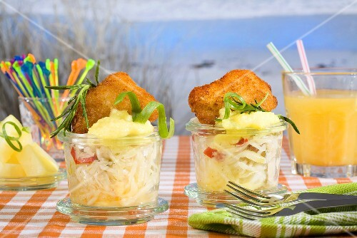 Mini escalopes with a herb salad in glasses