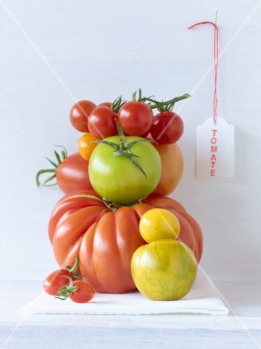 Various types of tomatoes in a pile