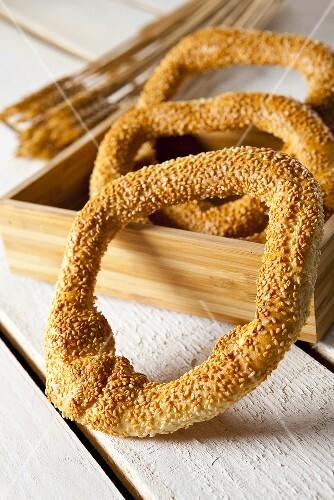 Koulouri (Greek bread with sesame seeds)
