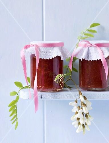 Strawberry jam with acacia flowers
