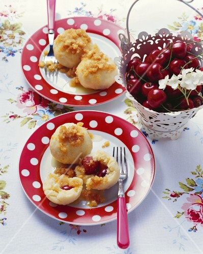 Cherry dumplings with coconut crumbs