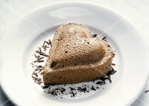 Chocolate Mousse Heart with Chocolate Shavings