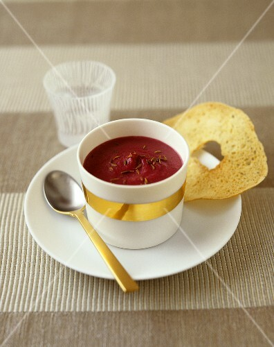 Beetroot soup in a small bowl