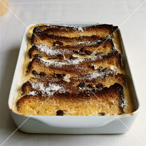 Bread-and-butter pudding with raisins and cinnamon
