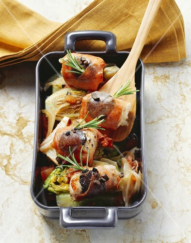 Coniglio a saltimbocca (Rabbit wrapped in ham, Italy)