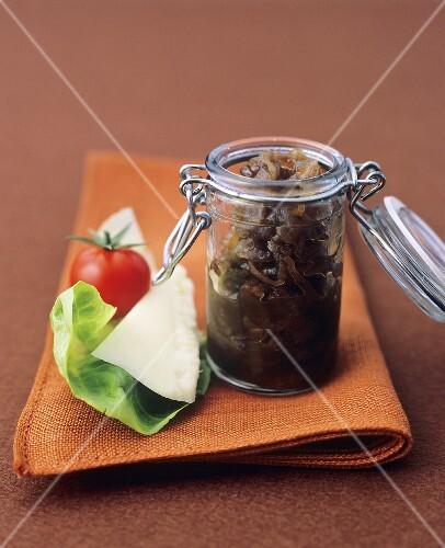 Balsamic onions in preserving jar